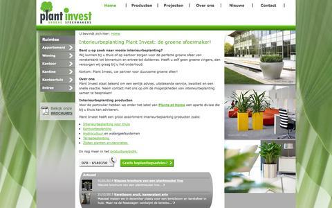 Screenshot of Home Page plantinvest.nl - Interieurbeplanting nodig? Plant Invest staat bekend om een eerlijk advies, uitstekende service, kwaliteit en een snelle reactie. - captured Oct. 3, 2014