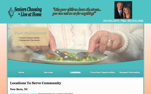 Screenshot of Locations Page seniorschoosingtoliveathome.com - Two Locations To Serve More Of The Community | New Bern, NC | Seniors Choosing to Live at Home - captured Nov. 5, 2014