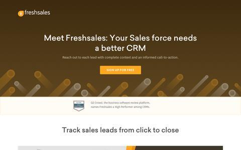 Screenshot of Landing Page freshworks.com - Lead Management Software | Lead Tracking | Freshsales CRM - captured June 23, 2017