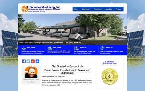 Screenshot of Contact Page aztecwindsolarpower.com - Get Started - Contact Us - Aztec Wind & Solar Power - captured Oct. 4, 2014