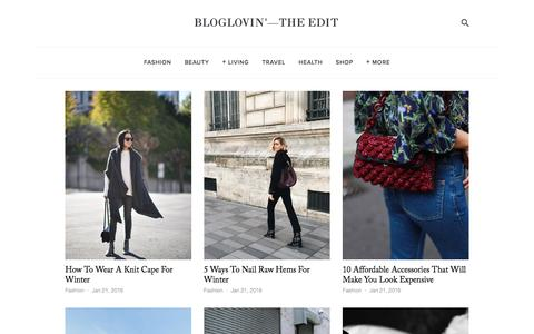 Screenshot of Blog bloglovin.com - Bloglovin'—the Edit - captured Jan. 21, 2016