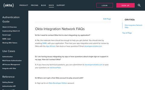 OIN FAQs   Okta Developer