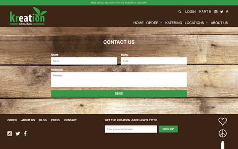 Screenshot of Contact Page kreationjuice.com - Contact Us - Kreation Organic - captured Feb. 12, 2016