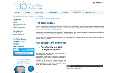 Screenshot of About Page berelax.com - Be Relax - Airport Spa, Airport Lounge, Founders, Investors. - captured Sept. 30, 2014