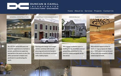 Screenshot of Services Page duncancahill.com - Construction Services | Construction Management Firm | Saratoga & Troy, NY - captured Oct. 5, 2014