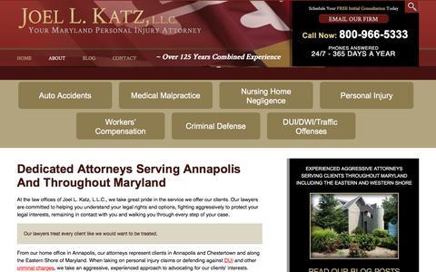 Screenshot of About Page joelkatzllc.com - Annapolis Attorneys | Joel L. Katz LLC - captured Jan. 26, 2016