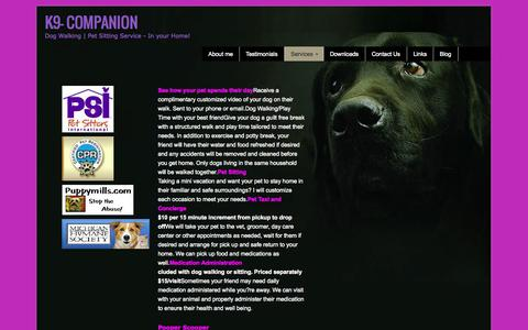 Screenshot of Services Page k9-companion.com - michigan pet sitting services | K9- Companion - captured Oct. 6, 2014