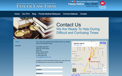 Screenshot of Contact Page jeffreyfeiler.com - Contact Us - The Feiler Law Firm - captured Feb. 11, 2016