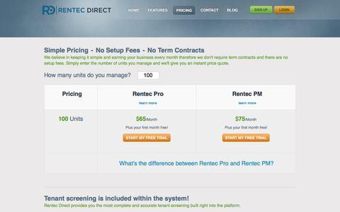 Screenshot of Pricing Page rentecdirect.com - Rentec Direct Pricing - Property Management Software - captured Dec. 5, 2016