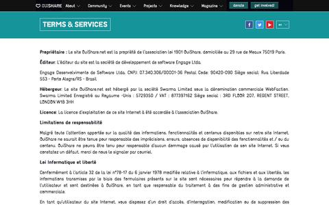 Screenshot of Terms Page ouishare.net - OuiShare : Terms and Service - captured Sept. 22, 2014