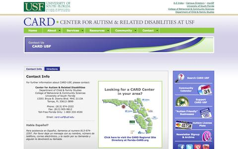 Screenshot of Contact Page usf.edu - CARD - Center for Autism and Related Disabilities at USF - captured Sept. 18, 2014