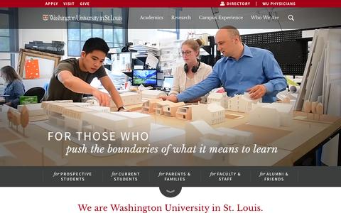 Screenshot of Home Page wustl.edu - Washington University in St. Louis - captured July 3, 2016