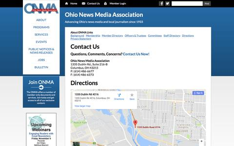 Screenshot of Contact Page Maps & Directions Page ohionews.org - ONMA   Contact Us - captured Nov. 1, 2017