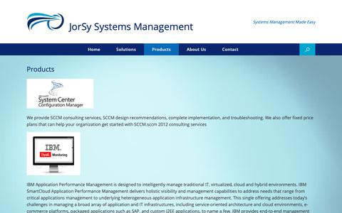 Screenshot of Products Page jorsy.com - Products - JorSy Systems Management - captured Dec. 20, 2018