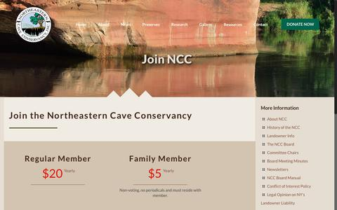 Screenshot of Signup Page necaveconservancy.org - Join the NCC | Northeastern Cave Conservancy, Inc. - captured Jan. 27, 2018