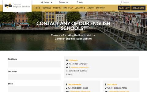 Screenshot of Contact Page ces-schools.com - Contact Centre for English Studies | Contact Us - captured Sept. 27, 2018