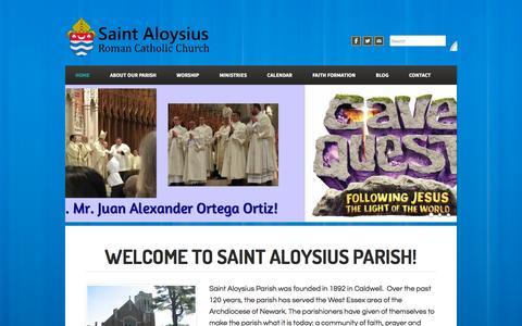 Screenshot of Home Page stalscaldwell.org - St. Aloysius Parish - Home - captured June 22, 2016