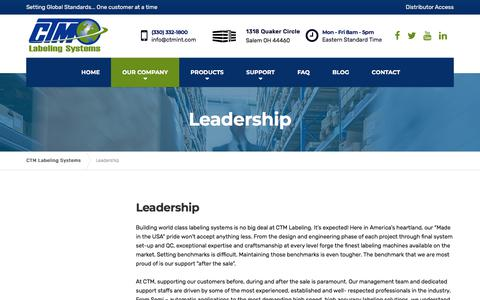Screenshot of Team Page ctmlabelingsystems.com - Leadership - CTM Labeling Systems - captured July 15, 2018