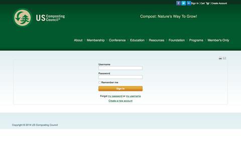 Screenshot of Login Page compostingcouncil.org - Sign In - captured Nov. 17, 2016