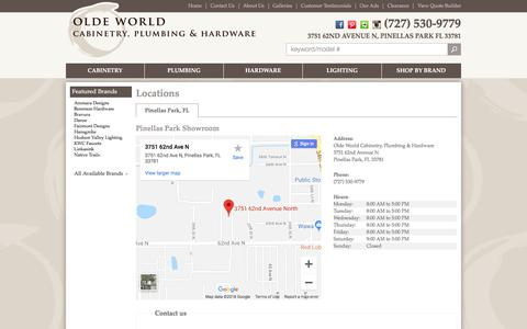 Screenshot of Contact Page Locations Page oldeworldcabinetry.com - Contact Olde World Cabinetry, Plumbing & Hardware in Florida - captured Sept. 25, 2018