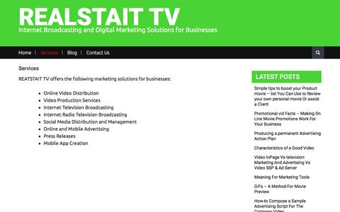 Screenshot of Services Page realstait.tv - Services – REALSTAIT TV - captured Nov. 29, 2016