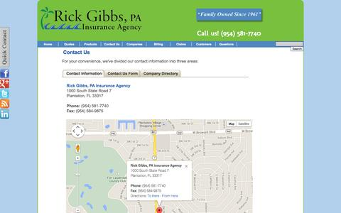 Screenshot of Contact Page Locations Page rickgibbspa.com - Contact Rick Gibbs, PA Insurance Agency - (954) 581-7740 Rick Gibbs, PA Insurance Agency - Plantation, Florida 33317 - captured Oct. 26, 2014