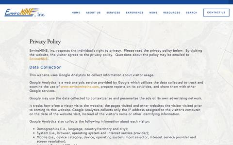 Screenshot of Privacy Page enviromineinc.com - Privacy Policy — EnviroMINE, Inc. - captured July 14, 2016