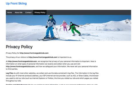 Screenshot of Privacy Page frontrangeskiclub.com - Privacy Policy – Up Front Skiing - captured Aug. 30, 2018
