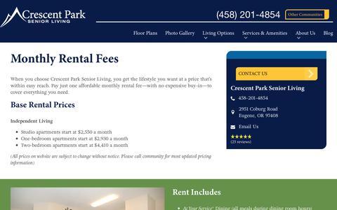 Screenshot of Pricing Page spectrumretirement.com - Monthly Rental Pricing | Crescent Park Senior Living - captured Oct. 23, 2018