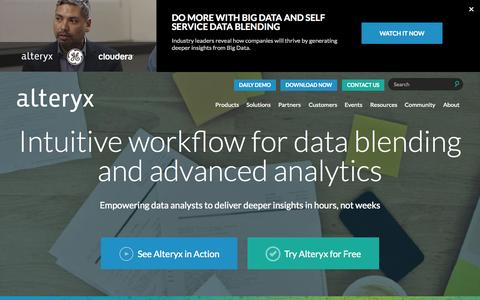 Screenshot of Home Page alteryx.com - Data Blending and Advanced Analytics Software - Alteryx Analytics - captured Oct. 7, 2015