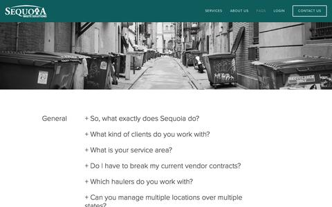 Screenshot of FAQ Page sequoiawaste.com - Frequently Asked Questions — Sequoia Waste Solutions - captured Nov. 18, 2016