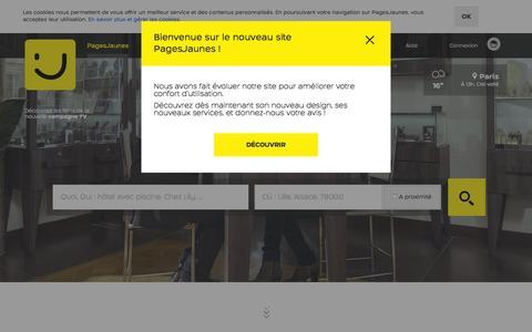 Screenshot of Home Page pagesjaunes.fr - PagesJaunes : Trouvez plus que des coordonnées avec l'annuaire des professionnels - captured Sept. 4, 2015