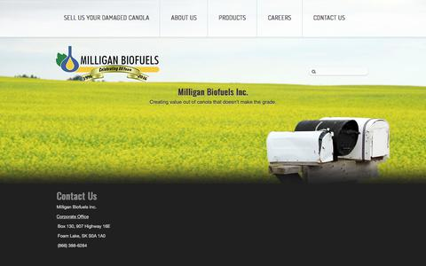 Screenshot of Contact Page milliganbiofuels.com - Contact Us - Milligan Biofuels Inc. - captured Oct. 19, 2017