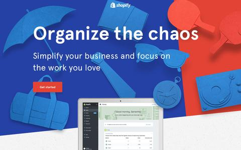 Screenshot of Landing Page shopify.com - Simplify your business - captured Oct. 28, 2016