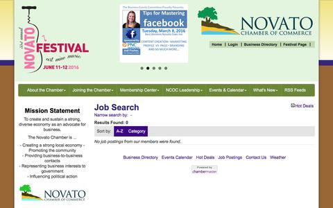 Screenshot of Jobs Page novatochamber.com - Job Search - Novato Chamber of Commerce, CA - captured Feb. 24, 2016