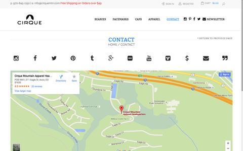 Screenshot of Contact Page cirquemtn.com - Contact Us - Cirque Mountain ApparelCirque Mountain Apparel - captured March 4, 2016