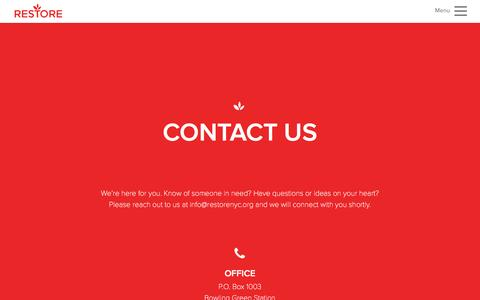 Screenshot of Contact Page restorenyc.org - Contact Us - captured Feb. 25, 2016