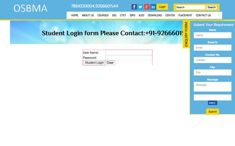 Screenshot of Login Page osbma.in - Student Login form Please Contact:+91-9266601544 - captured Nov. 23, 2015