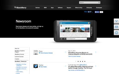 Screenshot of Press Page blackberry.com - BlackBerry - Newsroom - US - captured Sept. 12, 2014