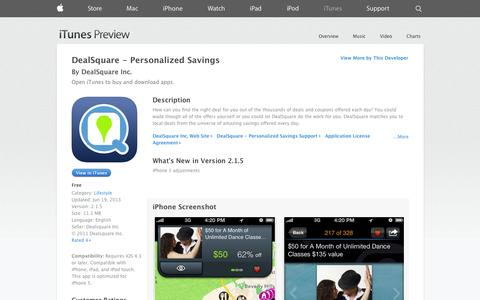 Screenshot of iOS App Page apple.com - DealSquare - Personalized Savings on the App Store on iTunes - captured Oct. 25, 2014