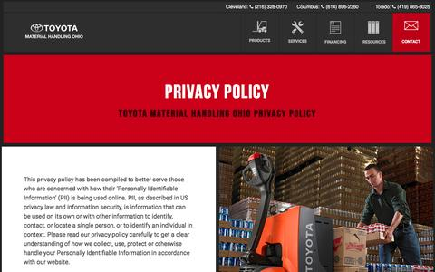 Screenshot of Privacy Page tmhoh.com - Privacy Policy - Toyota Material Handling Ohio - captured Dec. 16, 2016