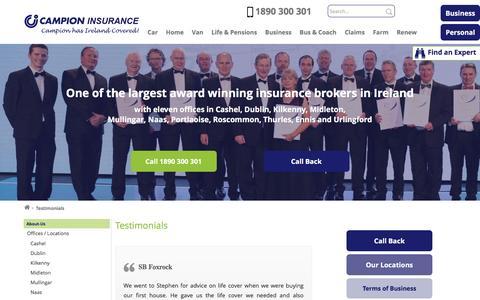 Screenshot of Testimonials Page campionins.com - Customer Testimonials   Campion Insurance Brokers Ireland - captured Oct. 18, 2016