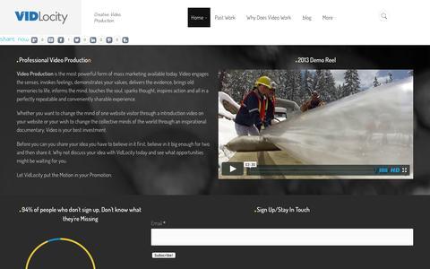 Screenshot of Home Page vidlocity.tv - VidLocity Media home - Video Production Company Denver, Colorado - captured Oct. 9, 2014