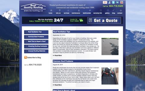 Screenshot of Blog bcroofing.ca - Best Quality Roofing | Blog - captured Oct. 5, 2014