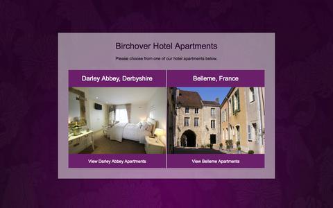 Screenshot of Home Page birchover.com - Birchover Luxury Hotel Apartments | Derby | East Midlands | Belleme | France - captured Oct. 5, 2014