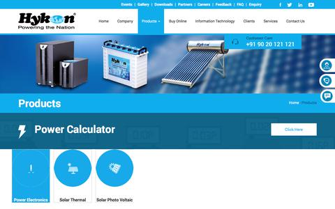 Screenshot of Products Page hykonindia.com - Hykon - Powering the nation - captured Sept. 20, 2017