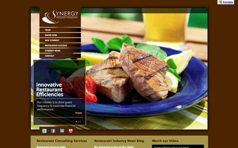 Screenshot of Home Page synergyconsultants.com - Restaurant Consultants: Branding, Menu, Design, Management, Branding, Consulting - captured Oct. 7, 2014