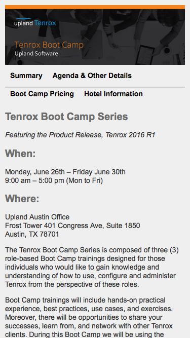 Tenrox Boot Camp Series