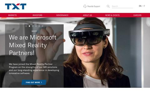 Screenshot of Home Page txtgroup.com - Homepage - TXT - captured Oct. 16, 2018