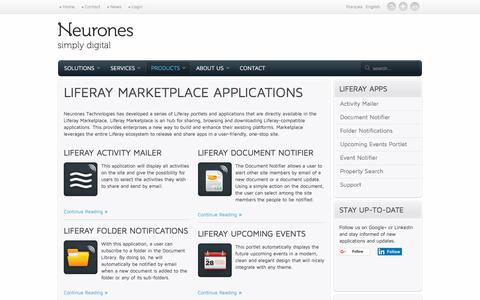 Screenshot of Products Page neurones.pro - Liferay Marketplace applications   Neurones Technologies - captured June 26, 2016